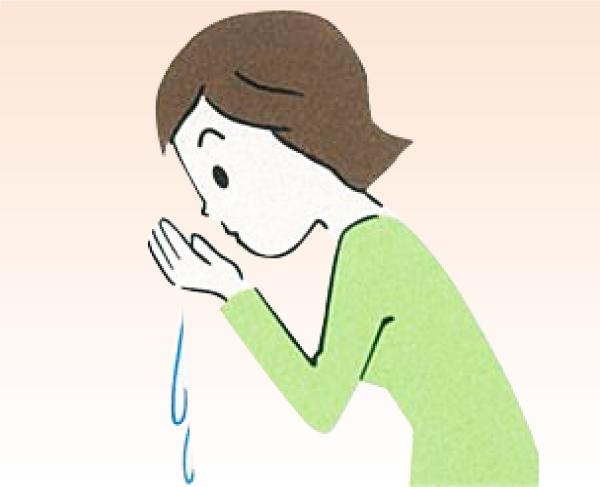 柄杓を右手に持ち換えて、左手に水を注ぎ、その水で口を濯ぎます。そしてもう一度左手を濯ぎます。